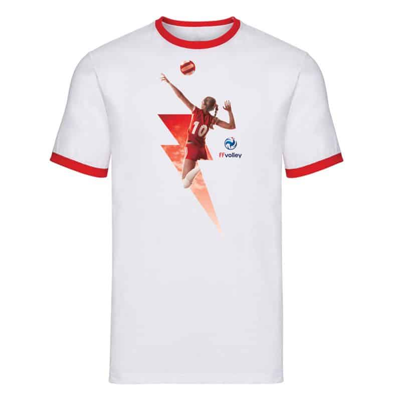 T-shirt Ringer BLANC ROUGE Eclair Volleyeuse
